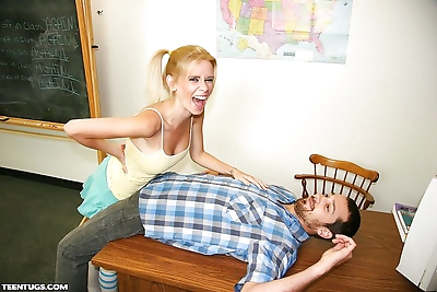 Sassy blonde teen with nice..