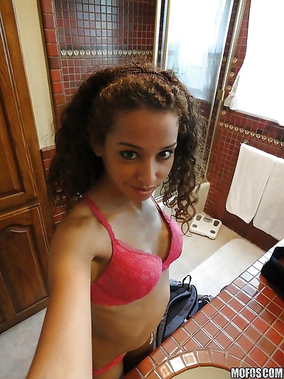 Curly-haired latina slipping..