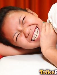 Petite Filipina teen Altea gets naked atop a bed for her sugar daddy