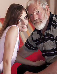 Skinny teen girl seduces an old man while feeling overtly horny