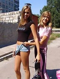 Hot teen girls in yoga pants and skirt teasing with their hot bodies in public