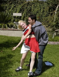 Nasty blonde cheerleader flashing her cooter at her audition