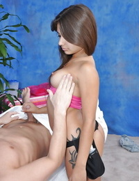 Nasty massage girl Jynx Maze loves to play with a hard cock at work